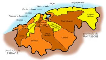 La Habana (mapa por barrios y municipios)