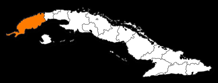 Mapa de la provincia de Pinar del Rio